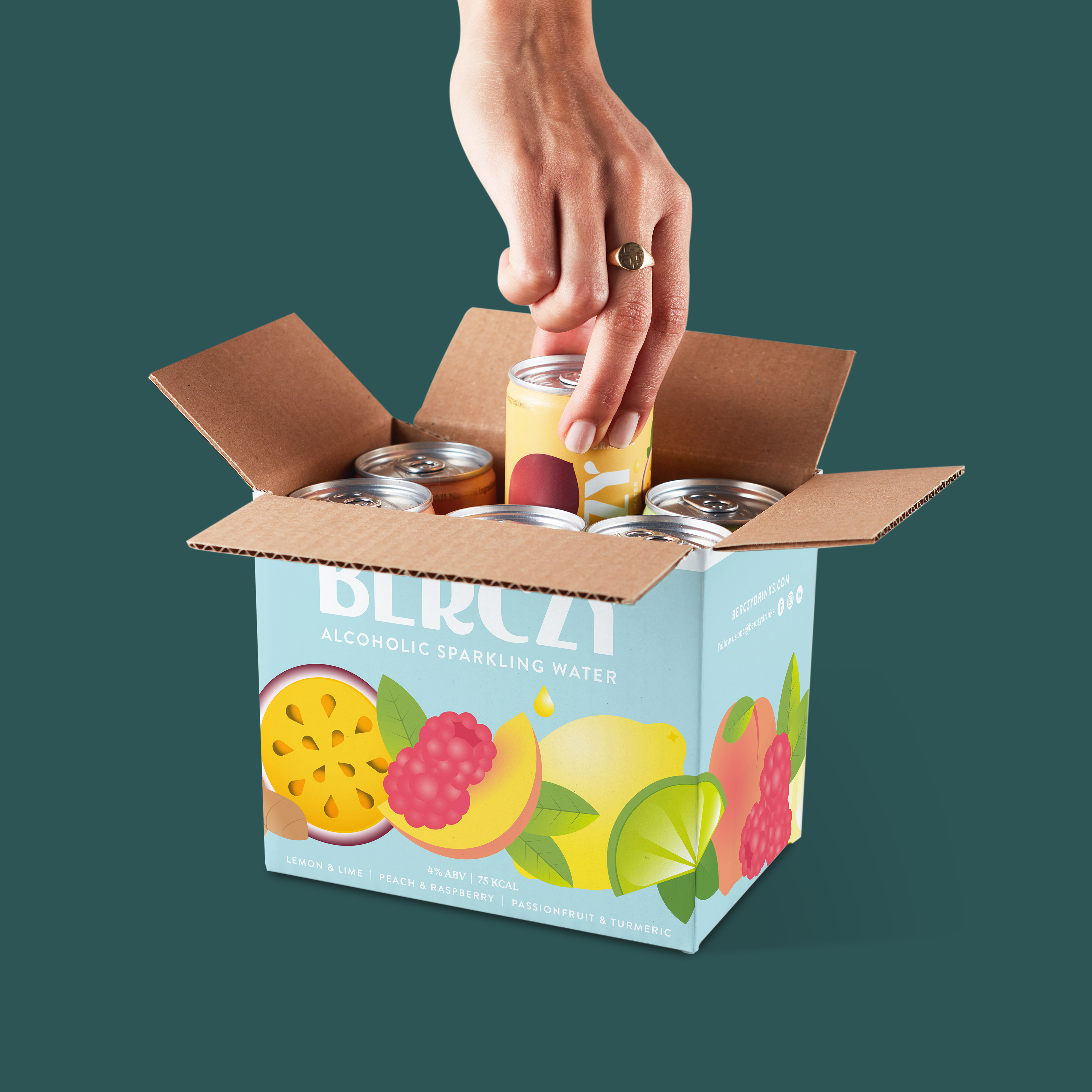 Picking up a can from a box of Berczy drinks