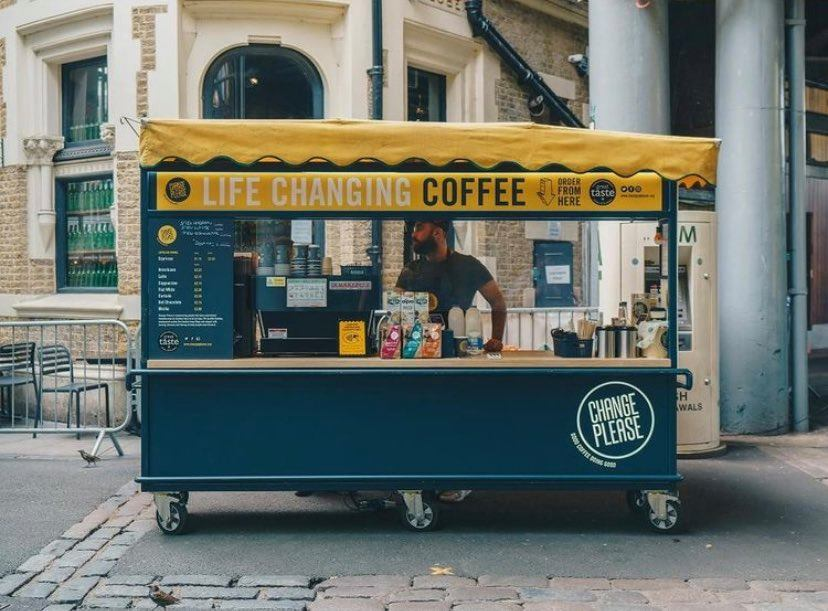 A coffee truck for the Change Please coffee company