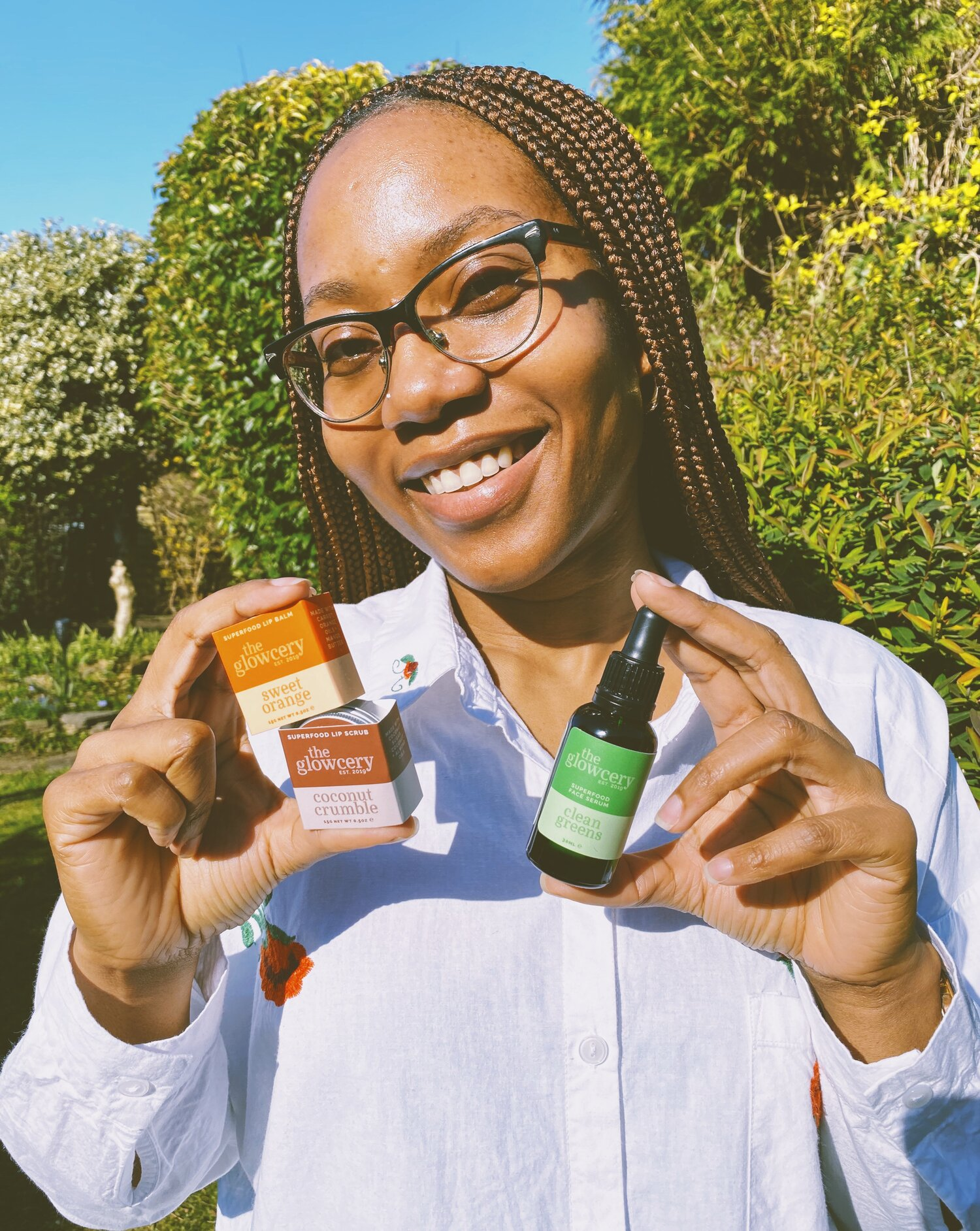 Roshanne Dorsett with her products from The Glowcery