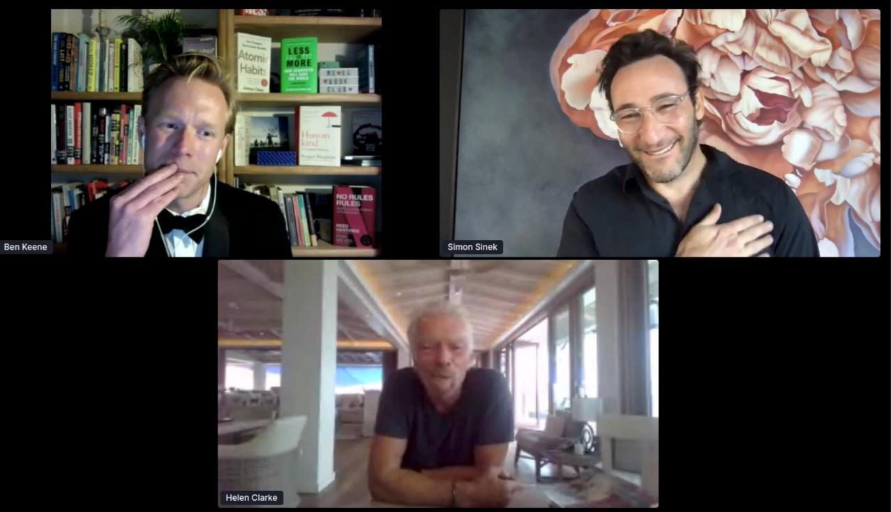 Simon Sinek and Richard Branson at Virgin StartUp's virtual MeetUp