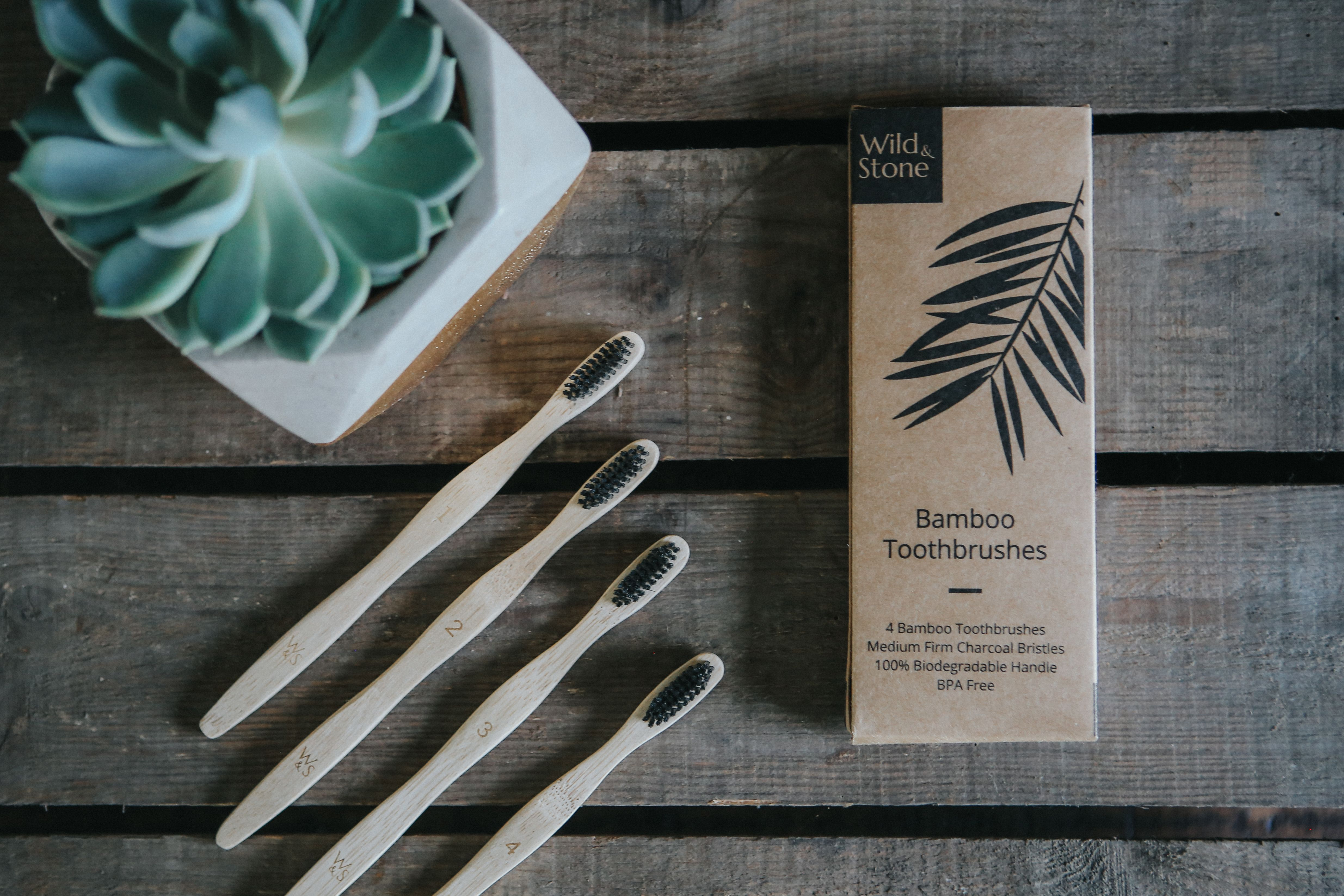 Bamboo toothbrushes from the company Wild & Stone